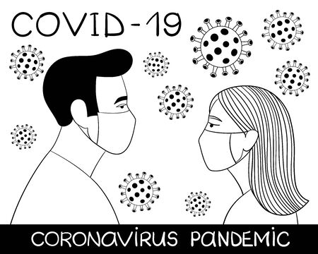 COVID-19 Novel coronavirus 2019-nCoV pandemic. Man and woman in medical face mask. Concept of quarantine. Doodle line art outline vector illustration. Black on white background isolated