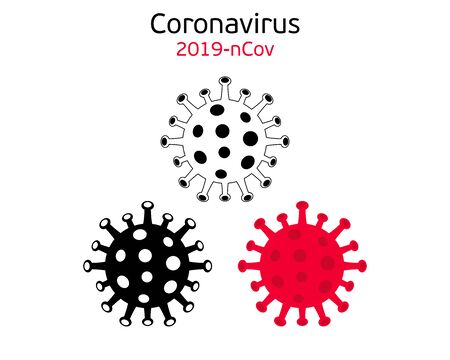 Coronavirus 2019-nCoV icon. Black and white and red graphic vector symbol of bacteria for graphic design. Isolated on white. Global pandemic