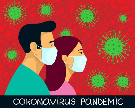 COVID-19 Novel coronavirus 2019-nCoV pandemic. Man and woman in blue medical face mask. Concept of quarantine. Doodle style hand drawn vector illustration Vectores