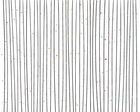 Hand drawn vertical parallel thin black lines on white background. Decorative confetti dot spots. Abstract vector decorative texture pattern for graphic design