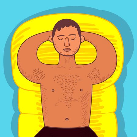 Chubby guy with hairy chest sunbathes on yellow inflatable swimming mattress. Man lying in swimming trunks with eyes closed. Bright colored vecor illustration