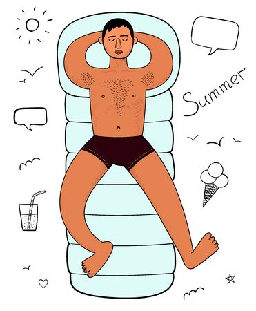 Young man hairy chest sunbathes on inflatable swimming mattress. Arms under head. Relax. Full growth. Top view. Summer sun sea relax vector doodle illustration Иллюстрация