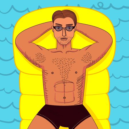 Strong young guy with hairy chest sunbathes on inflatable swimming mattress. Sexy man witn muscle body lying in sunglasses. Bright colorful vecor illustration