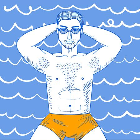 Strong young guy with hairy chest sunbathes. Sexy man witn muscle body lying in sunglasses. Conceptual vecor illustration for graphic design, print Illusztráció