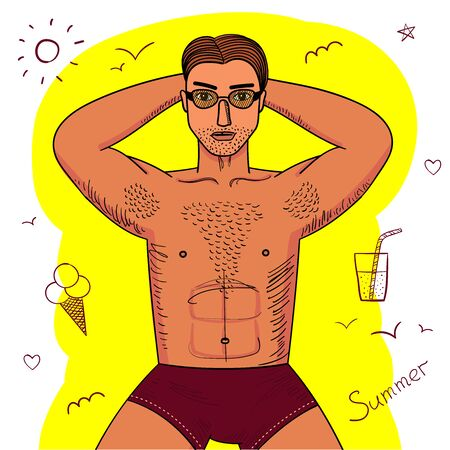 Strong young guy with hairy chest sunbathes. Sexy man witn muscle body lying in sunglasses. Bright colored conceptual vecor illustration