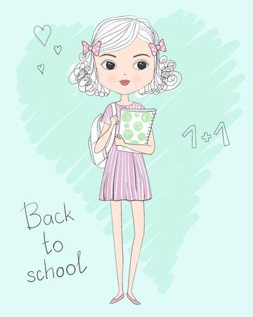 Écolière bouclée mignonne dessinée à la main en robe avec sac à dos et dossier en mains. Retour au concept de l'école. Illustration vectorielle.