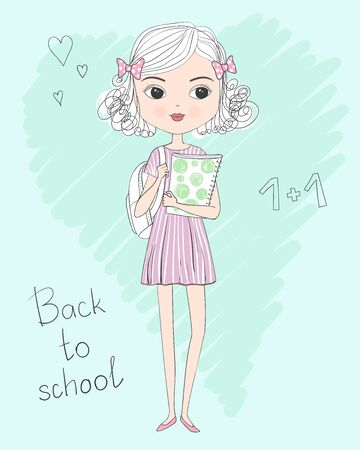 Hand drawn cute curly schoolgirl in dress with backpack and folder in hands. Back to school concept. Vector illustration. Illustration
