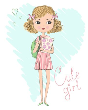 Hand drawn cute curly schoolgirl in dress with backpack and folder in hands. Back to school concept. Vector illustration.