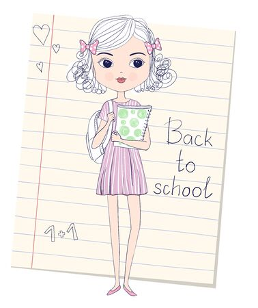 Sketch of cute curly schoolgirl in dress with backpack and folder in hands. Back to school concept. Vector illustration. Lined paper sheet from school notebook on background  イラスト・ベクター素材