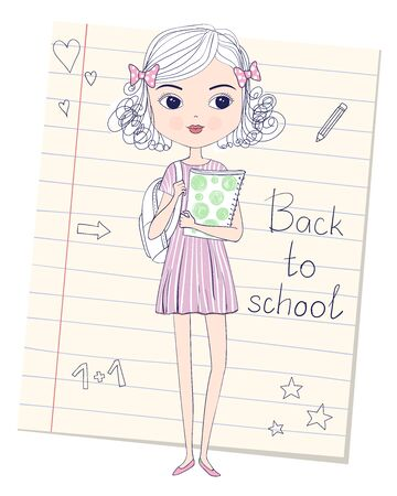 Sketch of cute curly schoolgirl in dress with backpack and folder in hands. Back to school concept. Vector illustration. Lined paper sheet from school notebook on background.