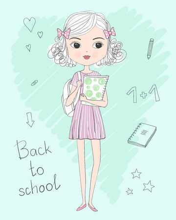 Hand drawn cute curly schoolgirl in dress with backpack and folder in hands. Back to school concept. Set of elements. Vector illustration.