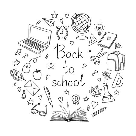 School clipart. Hand drawn doodle vector objects. Set of education elements. Back to school design illustration for graphic design, web banner and printed materials.