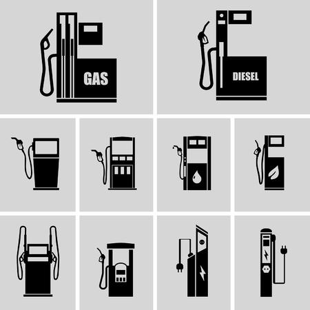 fuel pump: icons of petrol stations  Illustration