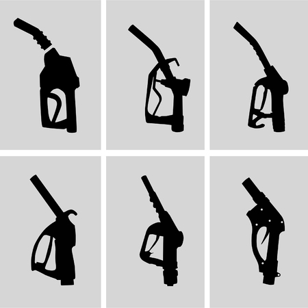petrol can: Illustration of petrol nozzle used for gas filling in black colors on white background  This can be used by petroleum industry, oil and gas companies