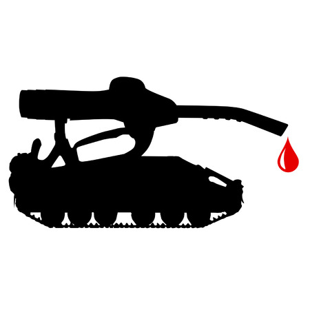 clean blood: Oil tank with a drop of blood