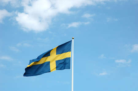 Swedish flag in the wind photo