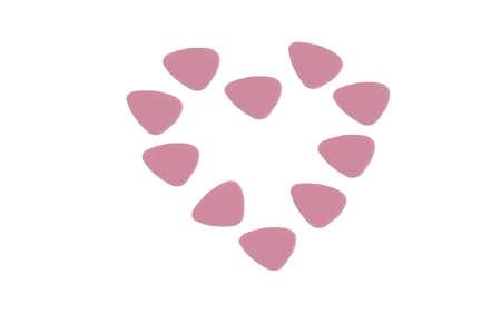 picks: A heart shape made up of pink guitar picks (plectrum) Stock Photo