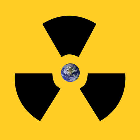 A radioactive sign surrounding earth. Earth picture from Nasa. Stock Photo - 6445877