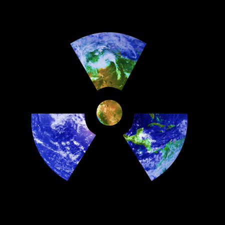 A radioactive sign composed of the earth. Earth picture from Nasa. Stock Photo - 6445874