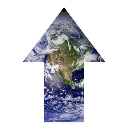 environmental issues: An arrow consisting of the Earth is pointing upwards representing progress in environmental issues. Earth picture from Nasa.