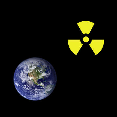 A radioactive sign beyound a picture of the earth. Earth picture from Nasa. Stock Photo - 6481291
