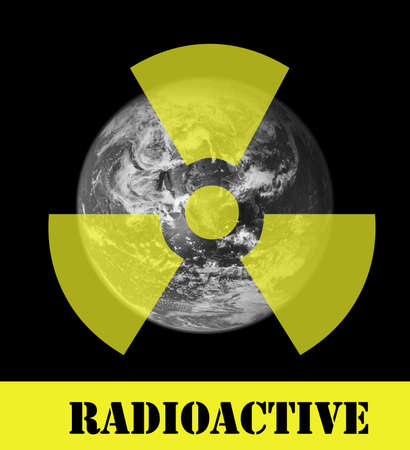 A radioactive sign above a picture of the earth. Earth picture from Nasa. Stock Photo - 6481305