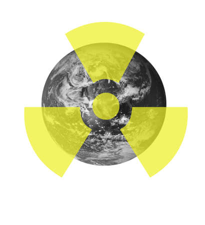 A radioactive sign above a picture of the earth. Earth picture from Nasa. Stock Photo - 6481303