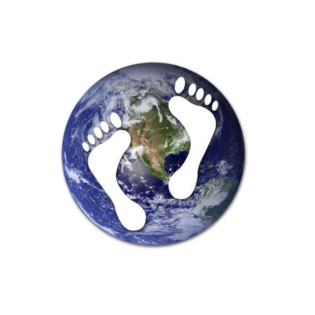 carbon footprint: White footprints over Earth to represent environmental issues or carbon footprint.  Stock Photo