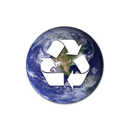environmental issues: A white recycling sign over Earth to represent environmental issues and recycling.  Stock Photo