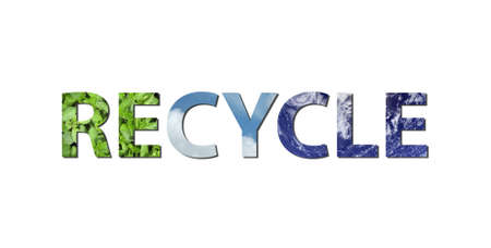 composing: The words RECYCLE are written composing of elements of earth, water and air.