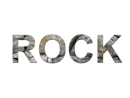 old style lettering: The word ROCK created with rock letters Stock Photo