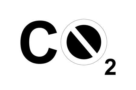 A CO2 sign with a forbidden sign to symbolize carbon footprint or environmental issues. photo