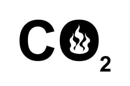 A CO2 sign with a burning fire to symbolize carbon footprint or environmental issues. photo