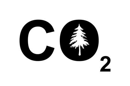 A CO2 sign with a tree to symbolize carbon footprint or environmental issues. photo