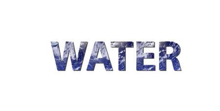 ciclo del agua: La palabra agua est� escrito con letras de agua. Foto de agua de la NASA.  Foto de archivo