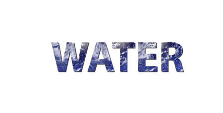 Water cycle: The word WATER is written with letters made from water. Water picture from NASA.