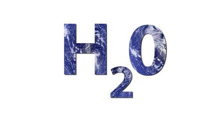 ciclo del agua: La palabra H2O est� escrito con letras de agua. Foto de agua de la NASA.