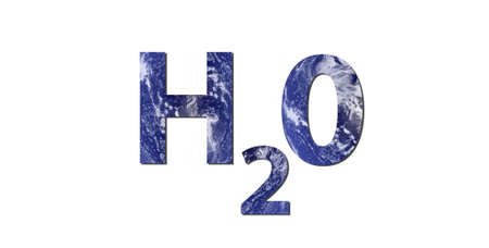 Water cycle: The word H2O is written with letters made from water. Water picture from NASA.