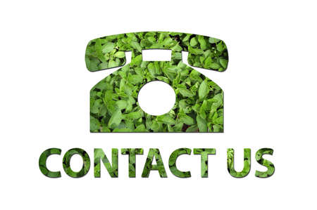 corporate waste: A telephone symbol with the text contact us made out of green leaves to be used by a company to symbolize ecology or enrivomental concerns.