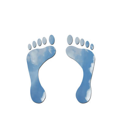 carbon emission: Footprints made up of blue sky with white clouds to represent environmetal issues or carbon footprint.