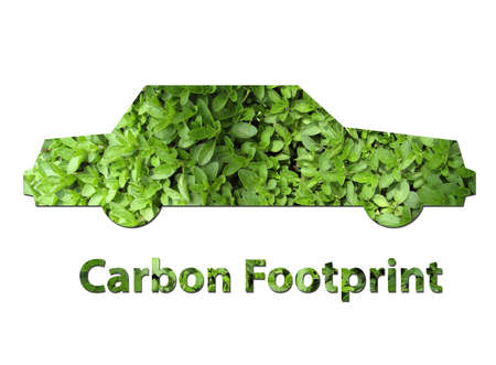 environmental issues: An illustration of a car made up of green leaves to represent environmental issues or carbon footprint. Stock Photo