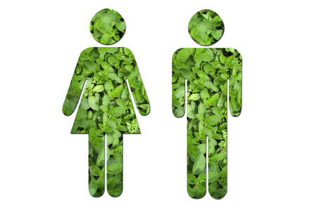 A couple made up of green leaves to symbolize environmental issues. photo