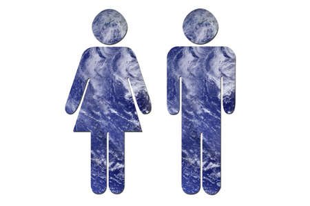 environmental issues: A couple made up of water to symbolize environmental issues. Water picture from NASA.