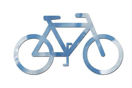environmental issues: A bicycle made out of blue sky with white clouds to symbolize ecological or environmental issues.
