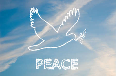 An illustration of a peace dove made out of clouds. illustration