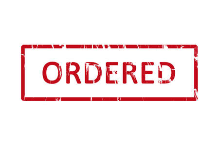 ordered: An office rubber stamp with the letters ordered Stock Photo
