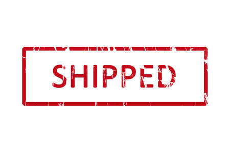 shipped: An office rubber stamp with the letters shipped