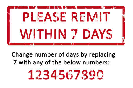 remit: An office stamp with the letters please remit within 7 days.