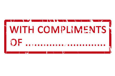 compliments: An office rubber stamp with the letters with compliments of Stock Photo