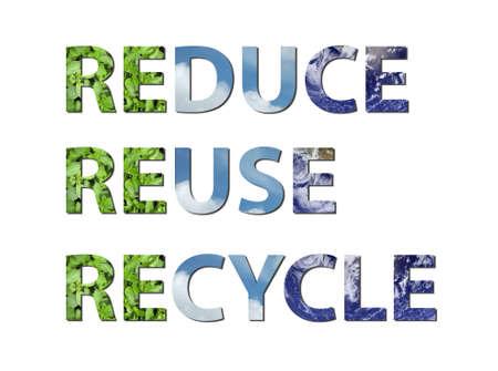 reduce reutiliza recicla: Las palabras reducir, reutilizar, reciclar se escriben la composici�n de los elementos de la tierra, el agua y el aire. Foto de agua de la NASA.